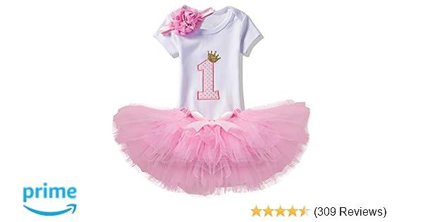 Amazon.com  NNJXD Girl Newborn Crown Tutu 1st Birthday 3 Pcs Outfits  Romper+Dress+ Headband Size (1) 1 Year Pink  Clothing 99b04680e
