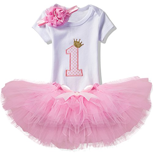 NNJXD Girl Newborn Crown Tutu 1st Birthday 3 Pcs Outfits Romper+Dress+ Headband Size (1) 1 Year Pink -