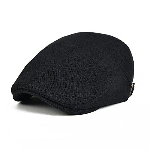 - VOBOOM Men's Cotton Flat Ivy Gatsby Newsboy Driving Hat Cap (Black)
