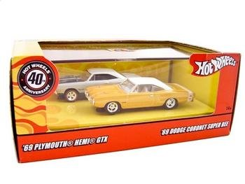 Hot Wheels MOPAR MUSCLE 40th Anniversary 2 Car Set ('69 Plymouth Hemi GTX & '69 Dodge Coronet Super - Muscle Super Cars