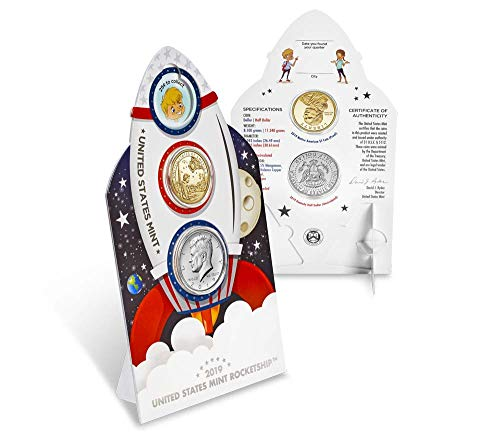 - 2019 Various Mint Marks Kennedy Half Dollar 2019 Rocketship 2 Coin Set Kennedy UNC and Proof Dollar Brilliant Uncirculated