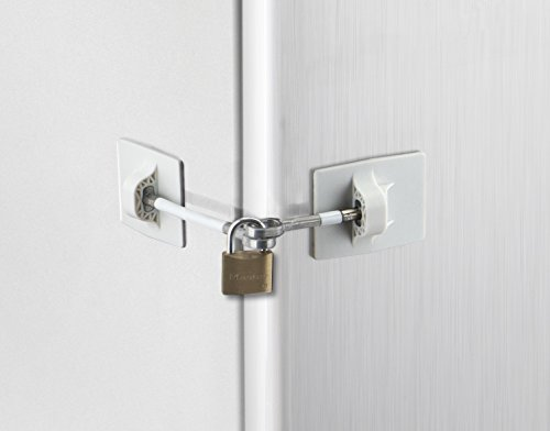 Refrigerator Door Lock with Padlock - White ()