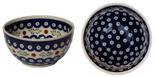 Polish Pottery Ice Cream / Cereal Bowl Decoration Inside From Zaklady Ceramiczne Boleslawiec #971/1-242 Classic Pattern, Height: 2.8