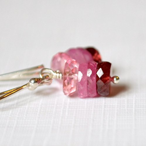 Pink Earrings Garnet Topaz & (Pink Topaz Sapphire and Garnet Earrings in Silver)