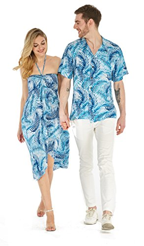 Couple Matching Hawaiian Luau Party Outfit Set Shirt Dress in Simply Blue Leaves Men L Women M