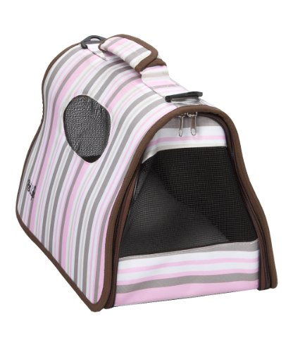 Pet Life Airline Approved Zippered Folding Cage Carrier, Stripe Pattern, Large, My Pet Supplies