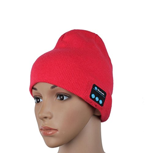 WAYMAY Wireless Bluetooth Knit Hat Music Cap Hands-free Phone Call Answer Ears-free Beanie Hat (Red)