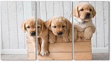 40x60CM X3枚 アートパネル 完成品( ゴールデンレトリバー、3かわいい子犬 ) モダン 特大 写真 アートフレーム 絵画 壁飾り キャンバス絵画 パネル装飾画(木枠付きの完成品)