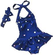 Sept.Filles Baby Girl's Bikini Swimwear Plus Bowknot Headband Swim