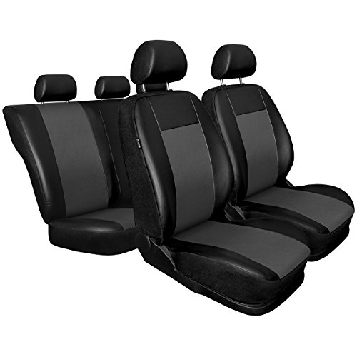 Black #2 Fits Most Car Truck Van SUV AUTO HIGH 11-Pieces Car Seat Covers Full Set Premium Faux Leather Automotive Front and Back Seat Protectors