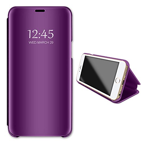 Price comparison product image Apple iPhone 7 8 Mirror Case, Metal Electroplate Clear View Flip Leather Holder Phone Cover with Kickstand Hard Protective Anti-Scratch Cover for Apple iPhone 7 Plus 8 Plus (Purple, iPhone 7)