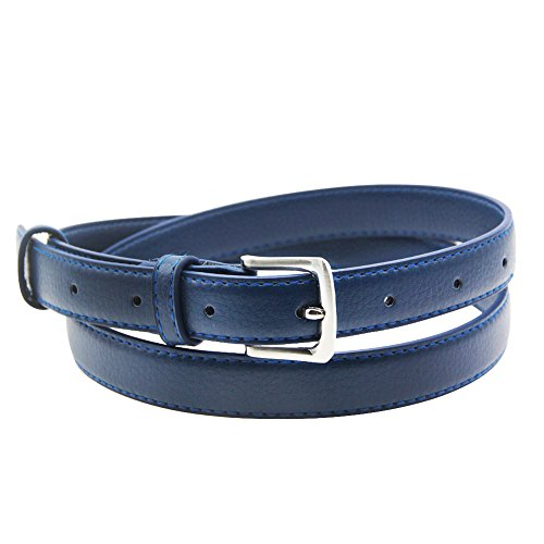 Womens Belt Skinny Leather Solid Color Pin Buckle Simple Waist for Girls -