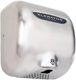 product image for Brushed Stainless Steel XLERATOR Automatic Surface Mounted Hand Dryer Voltage: 208 V, 7.0 Amp, Nozzle: 1.1N sound reduction