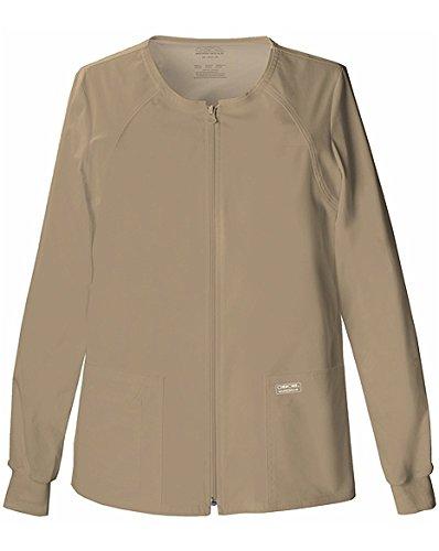 WorkWear by Cherokee 4315 Women's Zip Front Warm-Up Jacket Dark Khaki X-Small by Cherokee