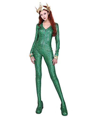 (Cosplay.fm Women's Queen Mera Cosplay Costume Green Mermaid Scale Bodysuit)