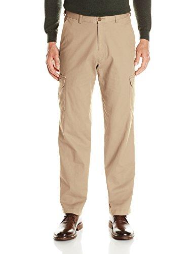 Haggar Men's Stretch Comfort Cargo Expandable Waist Classic Fit Plain Front Pant, Khaki, 44x32 ()