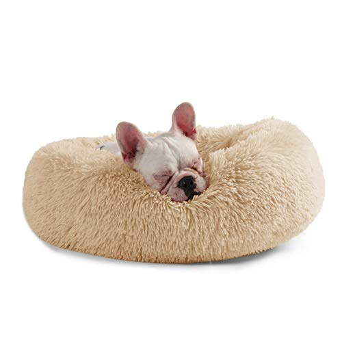 Veehoo Self-Warming Round Dog Bed for Small Dogs & Cats, Luxurious Faux Fur Donut Cuddler, Bolster Pet Bed & Sofa, Extra Plush Dog Pillow & Couch, Machine Washable, Apricot ()