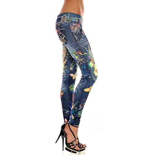 Mujer Pantalones Largos Flaco Elásticos Acogedor Imprimir Adelina Blau Cintura Vaqueros Profunda Ropa De Con Lápiz Estiramiento Stw1RqU