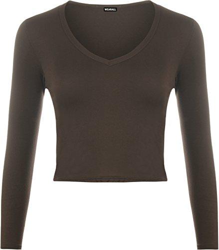 WearAll Women's Soft Stretch Short Plain V Neck Long Sleeve T-Shirt Ladies Crop Top - Dark Brown - US 4-6 (UK 8-10)