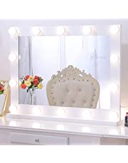 Chende 80x60cm Vanity Mirror with Lights, Large LED Makeup Mirror for Wall with Touch Control Dimmer, White Hollywood Lighted Mirror for Makeup Vanity in Bedroom, 3 Color Lighting Modes
