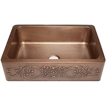 sinkology sk30333sc farmhouse ganku farmhouse copper sink 33 in single bowl copper kitchen