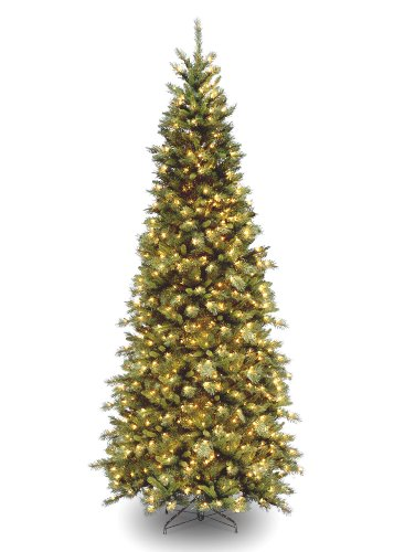 National Tree 9 Foot Tiffany Slim Fir Tree with 700 Clear Lights, Hinged (TFSLH-90LO) (Christmas Tiffany)