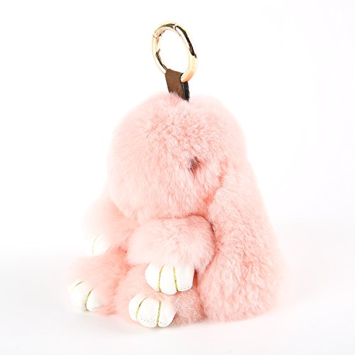 Pink Fluffy Bunnies (YISEVEN Stuffed Bunny Keychain Toy - Soft and Fuzzy Large Stitch Plush Rabbit Fur Key Chain - Cute Fluffy Bunnies Floppy Furry Animal Doll Gift for Girl Women Purse Bag Car Charm - Pink)