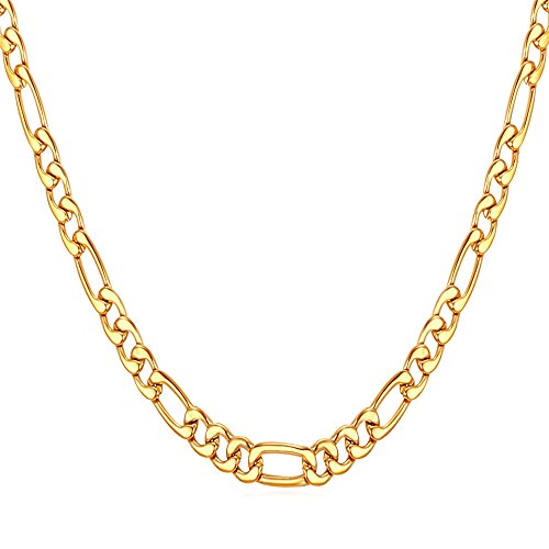 - U7 18KGP Stamped Chain Necklace Gold Plated Italy Figaro Chain for Men Women, 24 Inch