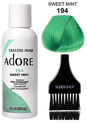 ADORE Creative Image Shining SEMI-PERMANENT Hair Color (STYLIST KIT) No Ammonia, No Peroxide, No Alcohol Haircolor Semi Permanent Dye (194 Sweet Mint)