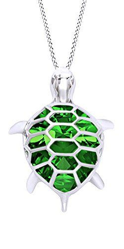 (AFFY Pear Shape Simulated Green Emerald Jade Turtle Pendant Necklace in 14k White Gold Over Sterling Silver)
