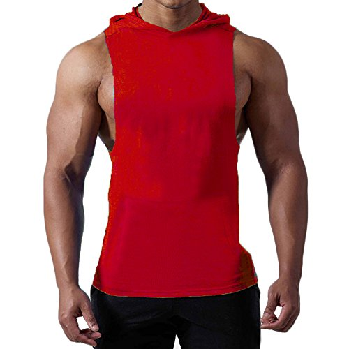 Magiftbox Mens Workout Hooded Tank Tops Sleeveless Gym Hoodies with Kanga Pocket _ Cool and Muscle Cut T187_red_US-L/ASIAN - Hooded Top