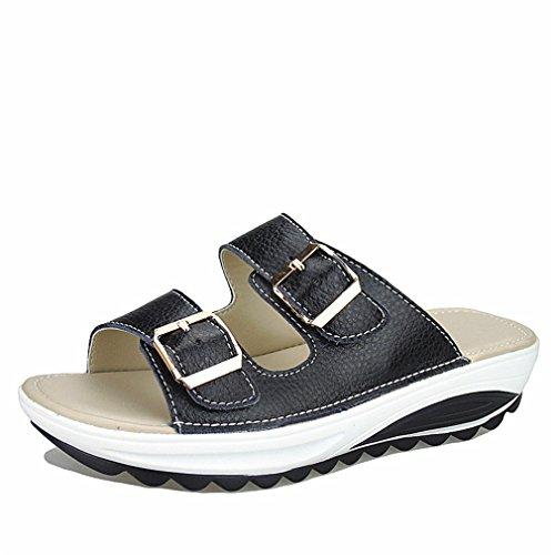 Sandalias de mujer ocasionales Zapatos de verano de cuero genuino Zapatos Plataforma de mujer Cuñas Diapositivas de mujer Chanclas de playa Black