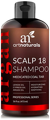 ArtNaturals Dandruff Shampoo, Coal Tar with Argan Oil, Scalp18 Therapeutic Treatment Helps Anti-Itchy Scalp, Clear Symptoms of Psoriasis, Eczema, Natural and Organic, Sulfate Free, 16 oz. Therapeutic Coal Tar Shampoo