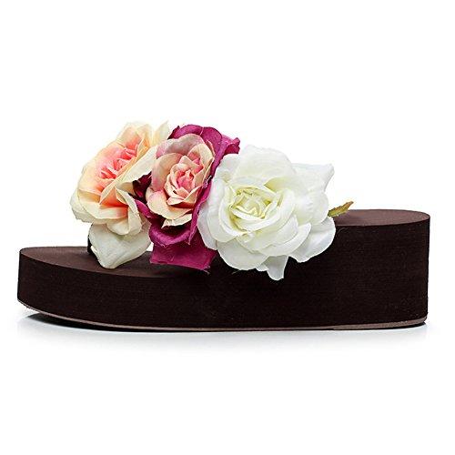 Fabric Flower fereshte Platform Cotton Lightweight 1455 coffee Beach Flipflops Women's Sandals EBEqHw