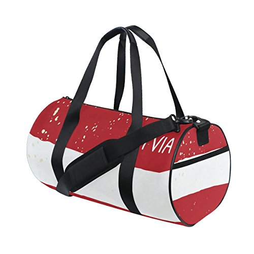 Distressed Latvia Flag Travel Duffel Shoulder Bag ,Sports Gym Fitness Bags by super3Dprinted