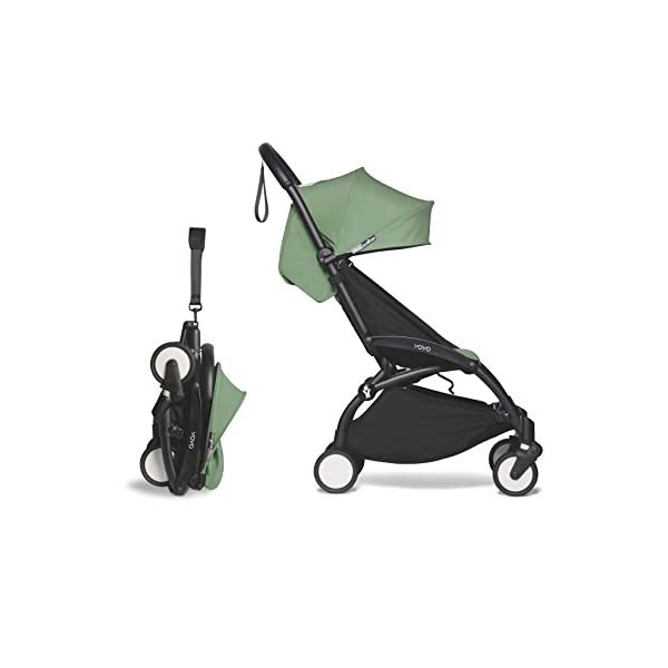 BABYZEN YOYO2 6+ Stroller – Black Frame with Peppermint Seat Cushion & Canopy