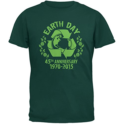 (Earth Day - 45th Anniversary Forest Green Adult T-Shirt - Large)