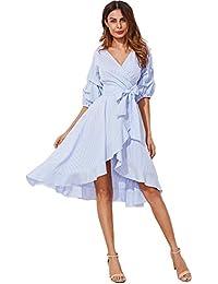 Women's V-Neck Striped Pinstripe Flounce Dip High Low Hem Split Wrap Dress