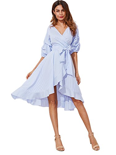 Milumia Women's V-Neck Striped Pinstripe Flounce Dip High Low Hem Split Wrap Dress Blue Medium
