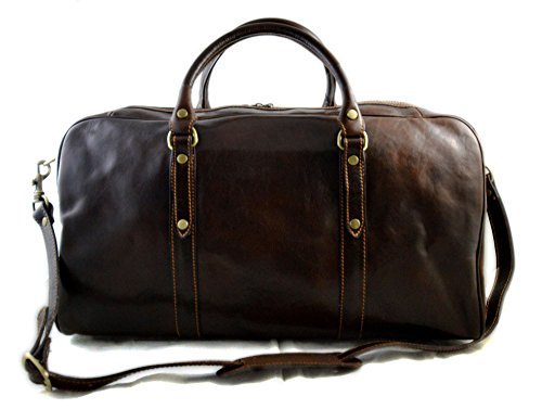 Leather travel bag duffle bag weekender overnight carryon hand luggage genuine leather dufflebag gym bag mens ladies carry on dark brown by ItalianHandbags