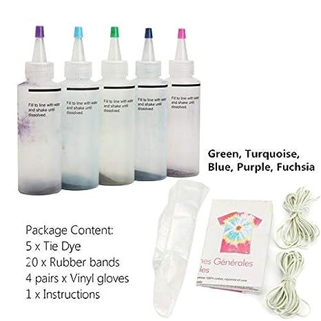 DalaB 5 unidades de 5 colores de un paso Tie Dye Kit Activated Dye ...