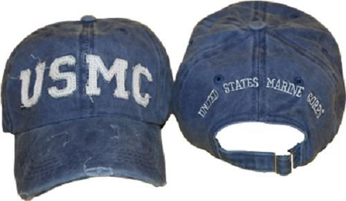 Ball Cap: USMC Marine Corps Blue Washed Denim style Hat Cap Cover (Lic by ()
