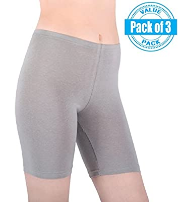 Sexy Basics Womens 3 Pack Sheer & Sexy Cotton Spandex Boyshort Yoga Bike Shorts