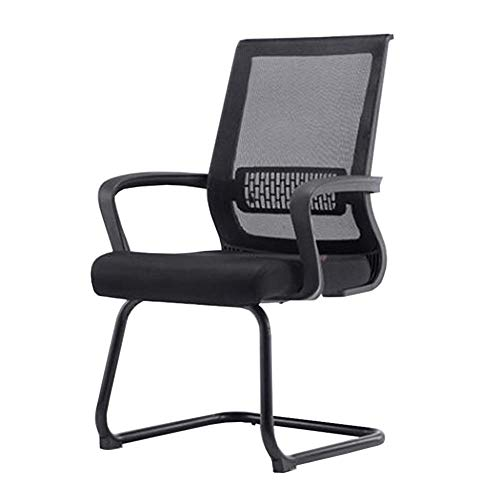 WXF Chairs Office Furniture, Metal Frame Breathable Mesh Upholstered Seat Guest Reception Visitors Meeting Chair (Color : Black)