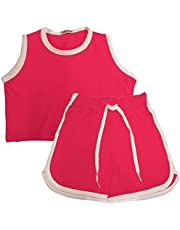 Kids Girls Shorts 100% Cotton Contrast Taped Summer Pink Top & Hot Shorts Sets