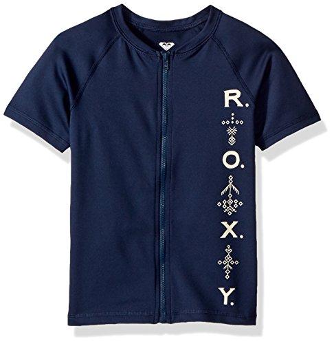 Roxy Big Girls' Short Sleeve Zip-up Rashguard, Dress Blue 4TH of July Stripe, (Roxy Kids Girls Swimwear)