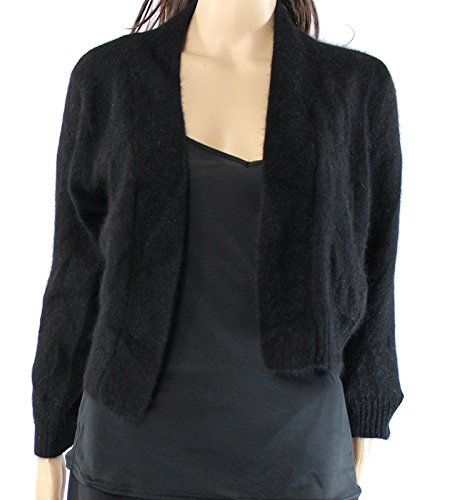 Calvin Klein Womens Angora Open Front Cardigan Sweater Black L by Calvin Klein