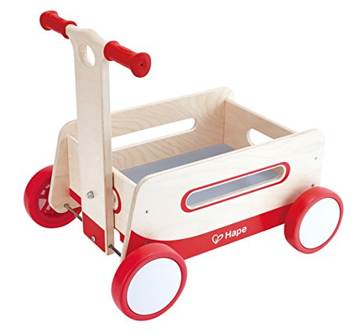 Hape Red Wonder Wagon Wooden Push and Pull Toddler Ride ()
