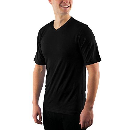 Woolx Ashton - Men's Merino Wool T-Shirt - V Neck Athletic Shirt - Black - XLG