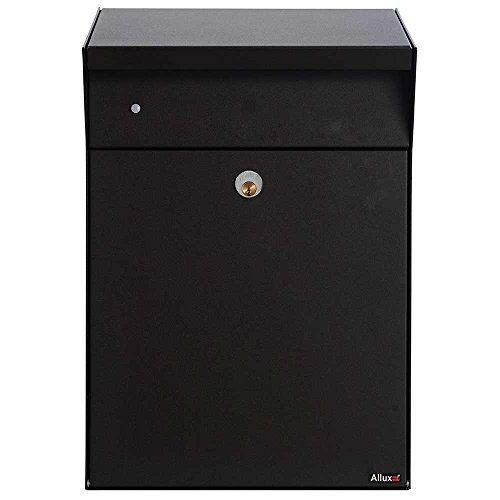 Qualarc ALX-BWP Allux Series Bjorn Parcel Box in Black Wall or Post Mount Top Loading Locking Galvanized Steel Mailbox with LED Motion Lighting,